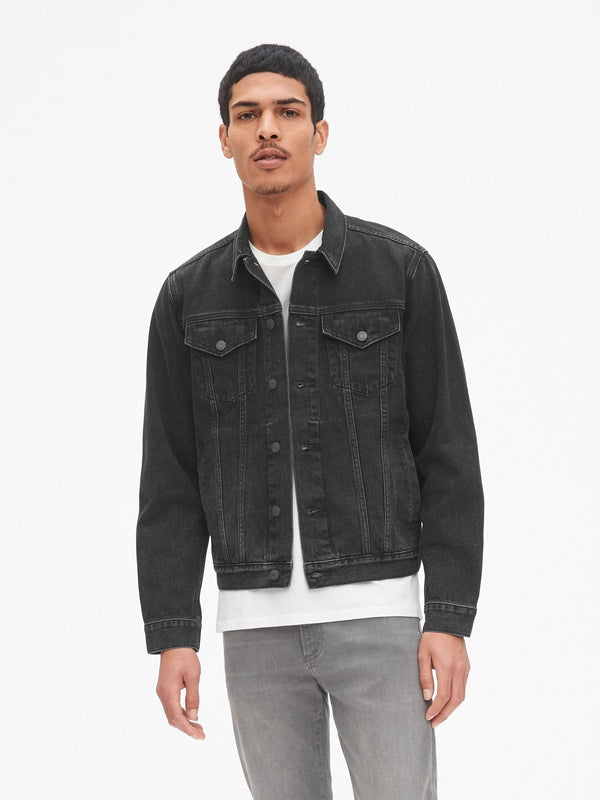 Denim Jacket - Black Washed-Washed Black