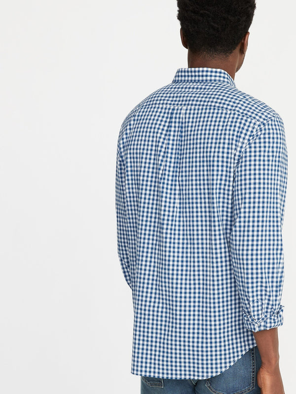 Camiseta Manga Larga Slim Everyday Plaid Poplin Stretch-Blue Gingham