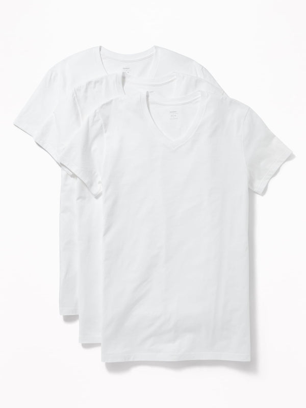 ON Accesorio Go-Dry V-Neck Tee 3-Pack For Men - Blanco Brillante