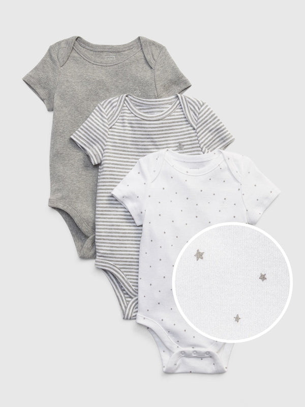 Gap Baby First Favorite Short Sleeve Bodysuit (3-Pack) - Light Heather Grey