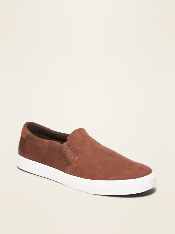 ON Mixed-Fabric Slip-Ons for Men - Cognac