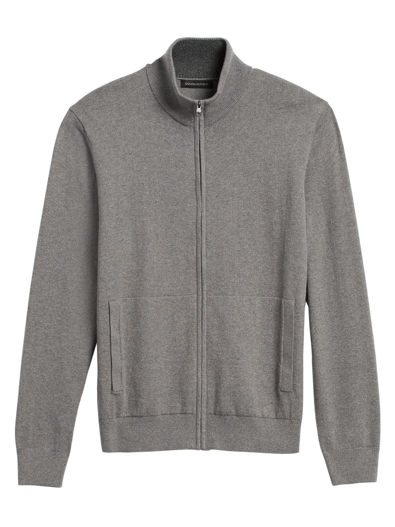 Sweater- Tipped Full Zip-Medheather Grey