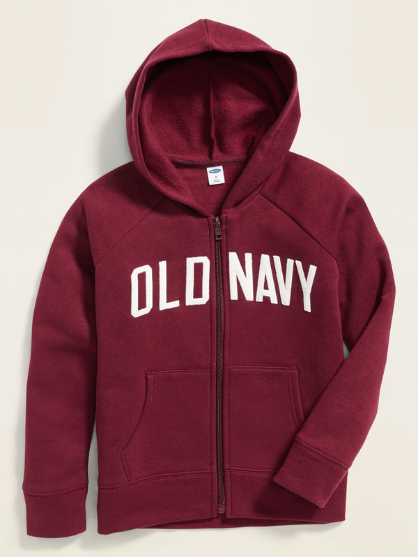 ON Sudadera Logo-Applique Zip Hoodie for Girls - Wine Stain