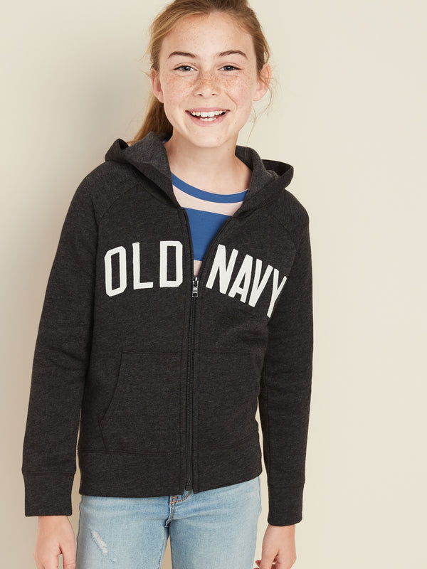 ON Sudadera Logo-Applique Zip Hoodie for Girls - Carbón