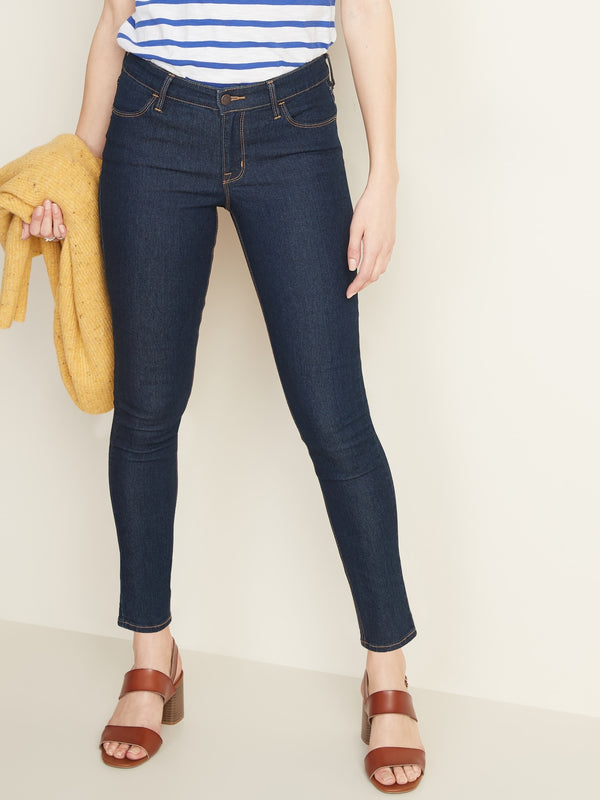 ON Mid-Rise Dark-Wash Super Skinny Jeans For Women - Rinse
