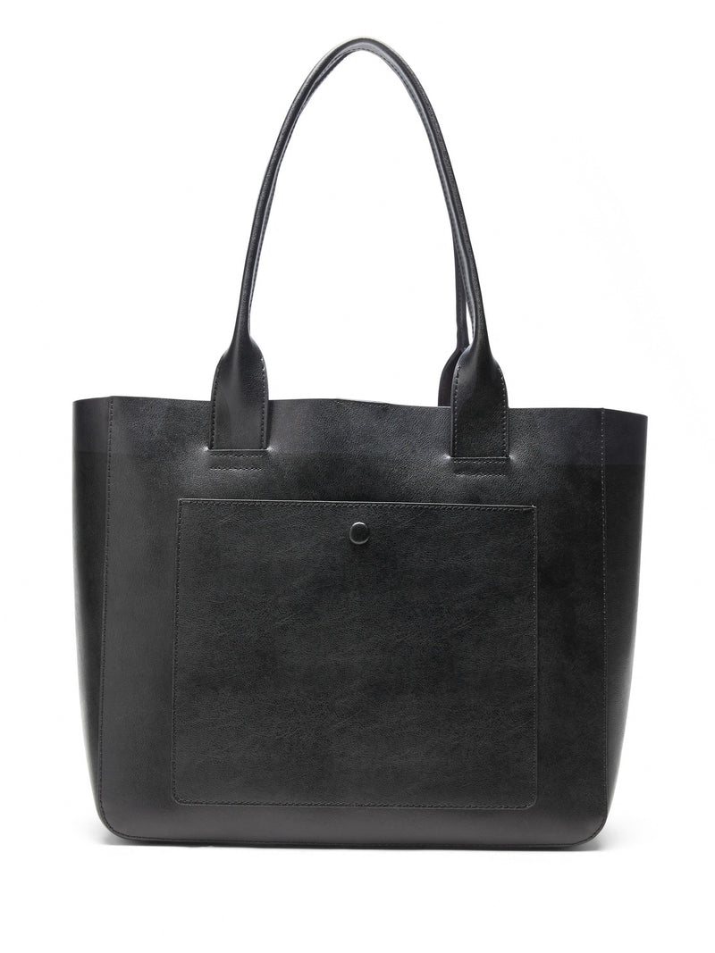BR Leather Large East-West Tote - Black