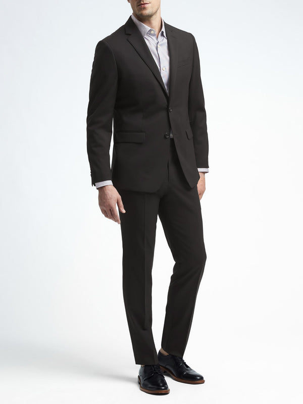 BR Slim Solid Italian Wool Suit Jacket - Negro