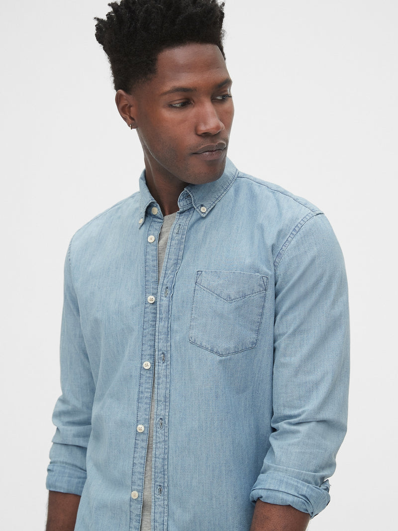 Gap Denim Shirt In Slim Fit - Chambray 042