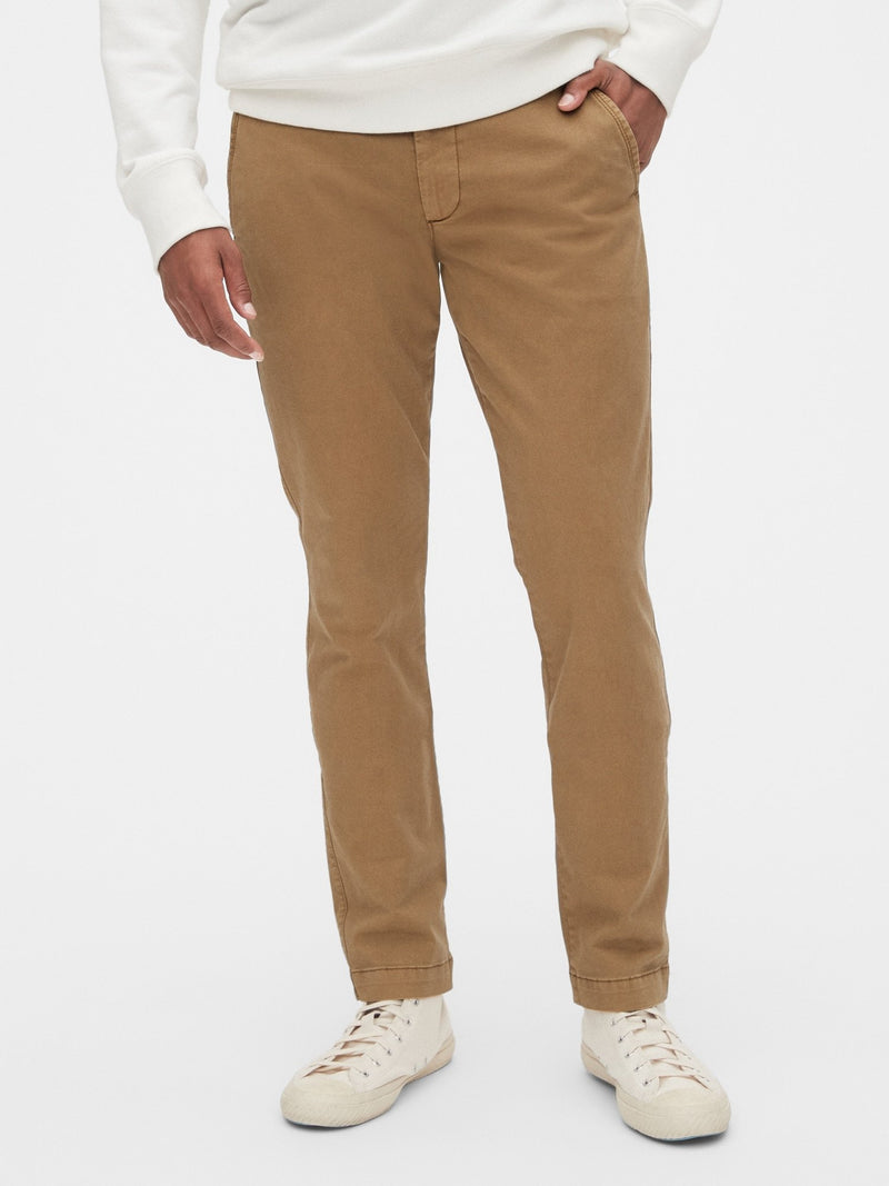 Pantalon -Skinny Vintage Wash Stretch Khaki-Palomino Brown