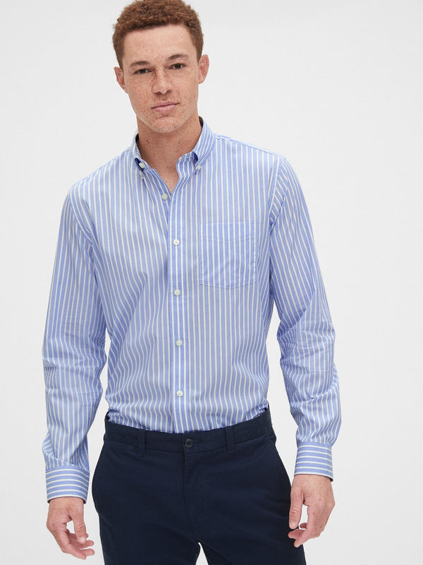Camisa Manga Larga-Performance Cotton -MENSWEAR STR BLUE WIDE