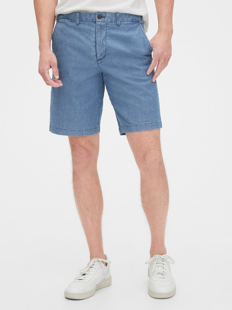 Shorts-10 In Casual Stretch Flex-BLUE CHAMBRAY