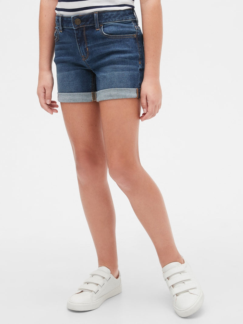 Short Denim-Basic Midi-DARK DENIM 611