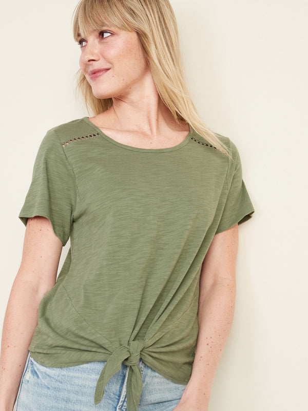 Camisa Manga Corta Lace Tie Front Top-Olive Through This