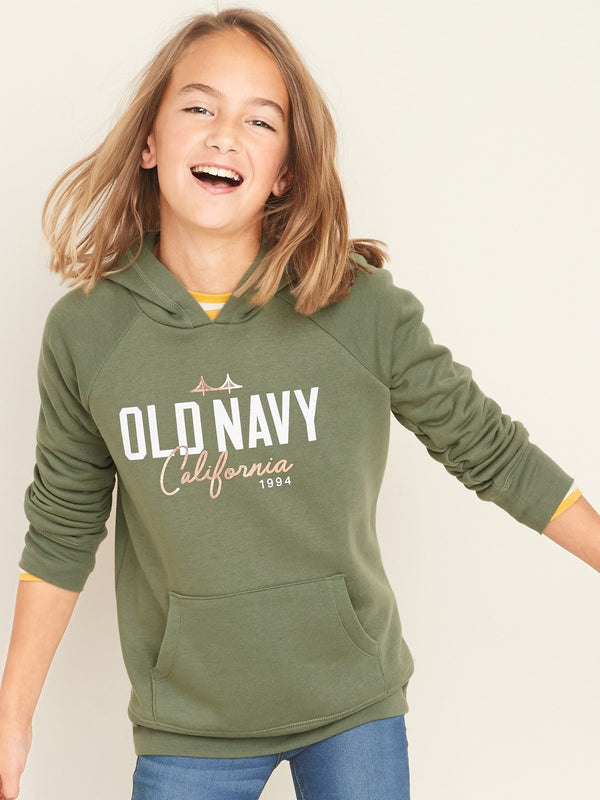 Sudadera Logo-Graphic Pullover Hoodie For Girls - Sea Salt