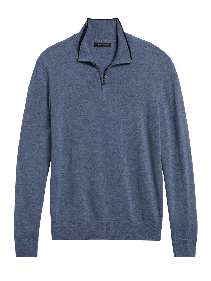 Sweater-Merino Half Zip-Country Side Blue