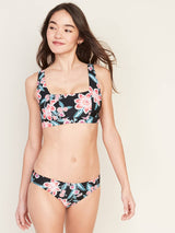 Swim-Square Neck Top Poly-Black Floral