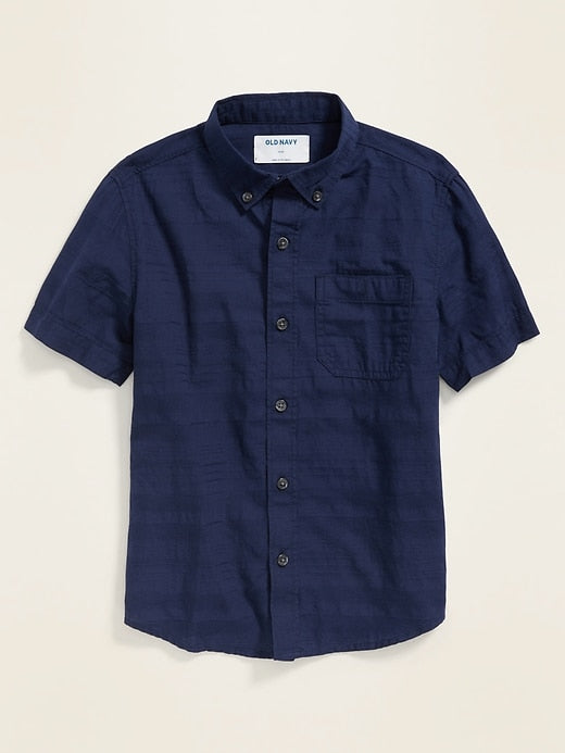 ON Camisa - Textured Dobby Short-Sleeve Shirt for Boys - Lost At Sea Navy