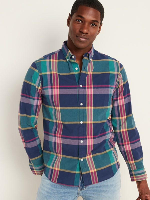 Camiseta Manga Larga Reg Everyday Poplin Plaid-Purple Plaid