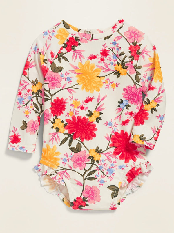 Short Swim-1Pc Rashguard-White Floral
