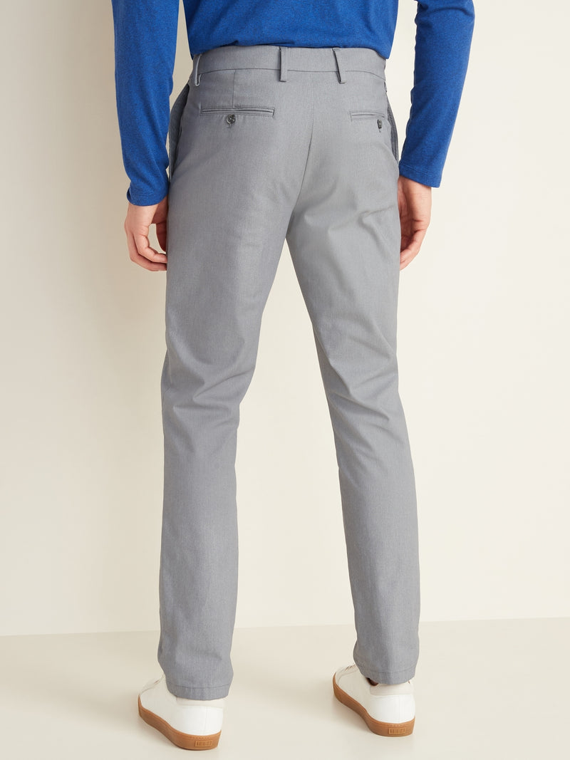 ON All-New Slim Ultimate Built-In Flex Textured Chinos for Men - Light Gris