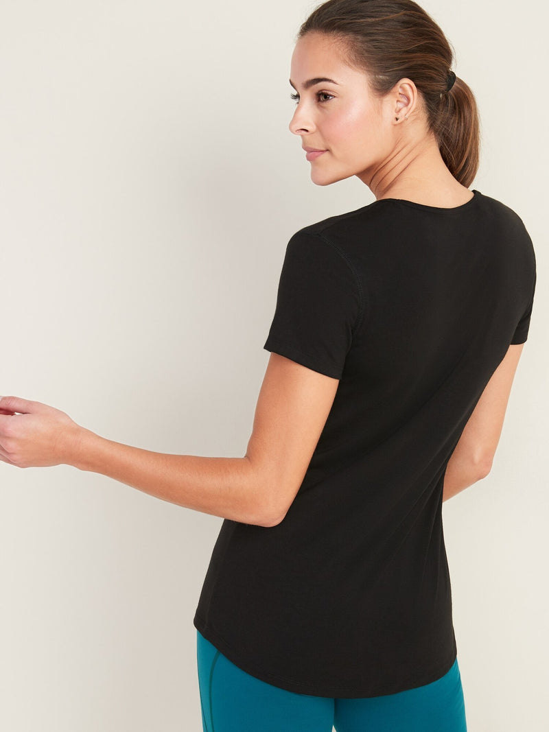 Tops Camiseta Manga Corta Scoop Neck Elevated Basic -Black Jack