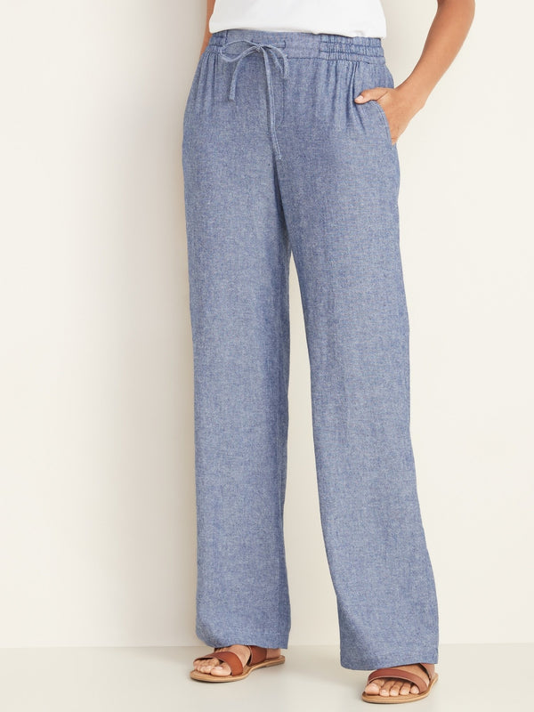 Pantalón Linen Wide Leg-Chambray Blue