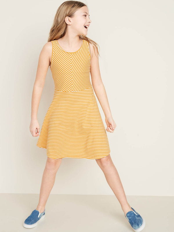 Vestido Fit And Flare Dress-Yellow Stripe
