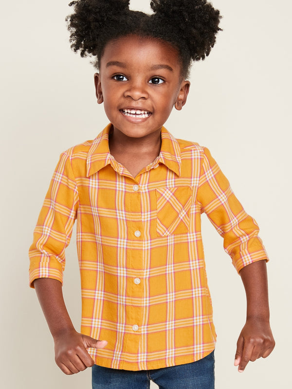 ON Plaid 3/4-Sleeve Tunic Shirt For Toddler Girls - Squash