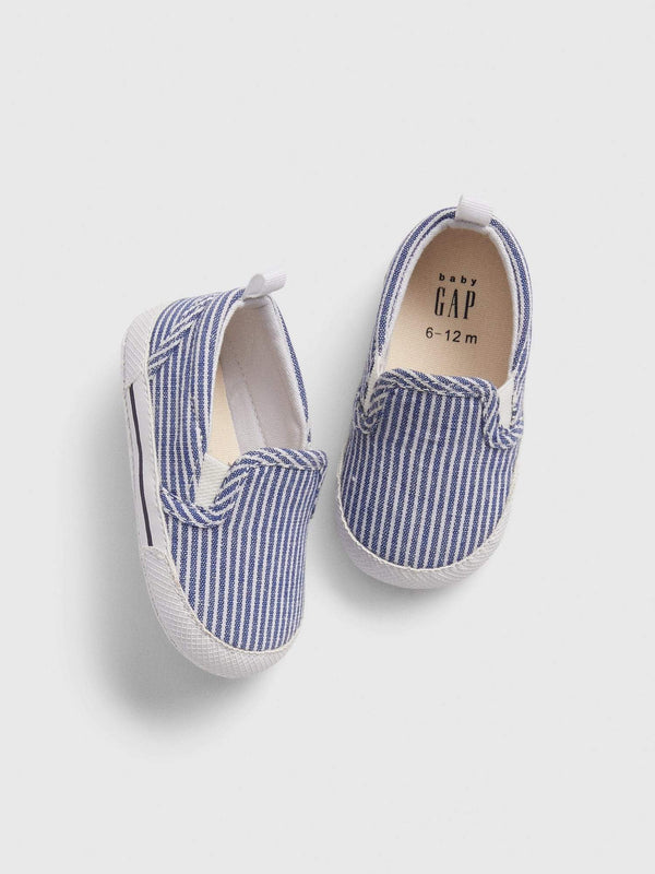 Zapato Slip-On-RAILROAD STRIPE BLUE