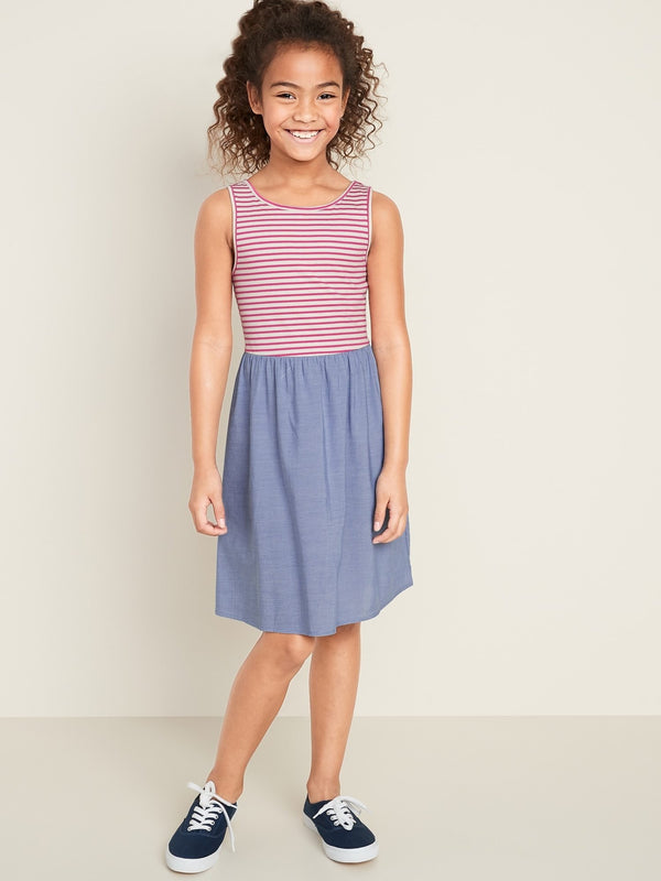 Vestido Fit And Flare Dress-Pink Stripe