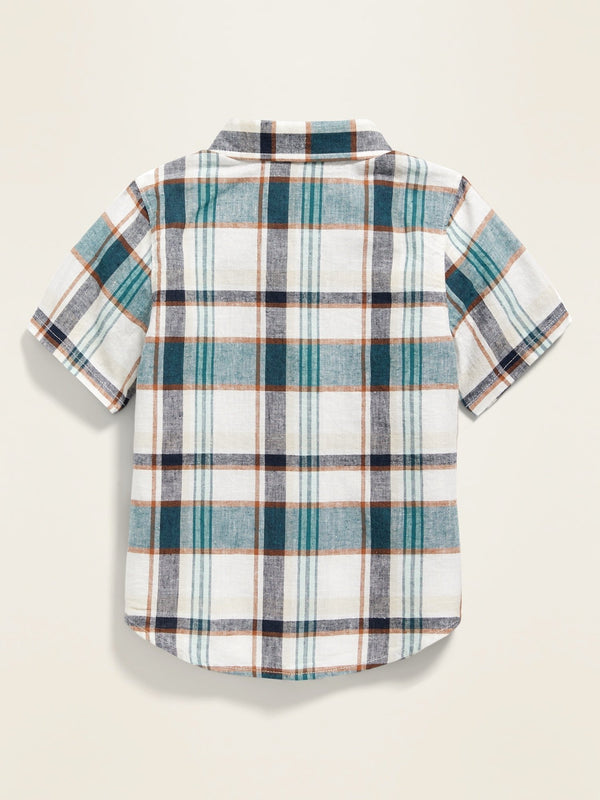 ON Camisa Linen-Blend Plaid Shirt For Toddler Boys - Blanco/Azul Plaid