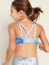 Performance Tops Printed Strappy Bra-Grey Floral Print