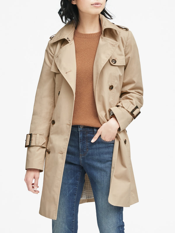 BR Water-Resistant Classic Trench Coat - Golden Beige