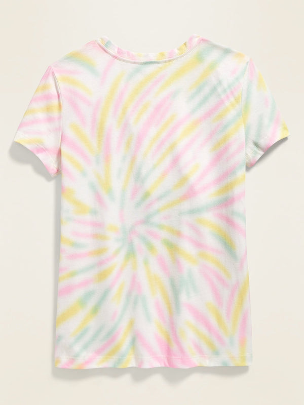 Camiseta Loose-Fit Logo-Graphic Tee For Girls - Rainbow Tie Dye
