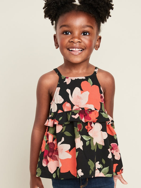 Camisa Floral-Print Ruffle-Tiered Cami For Toddler Girls - Negro Floral