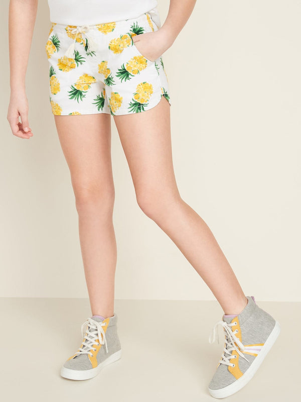 ON Functional-Drawstring Pull-On Shorts For Girls - Pineapple