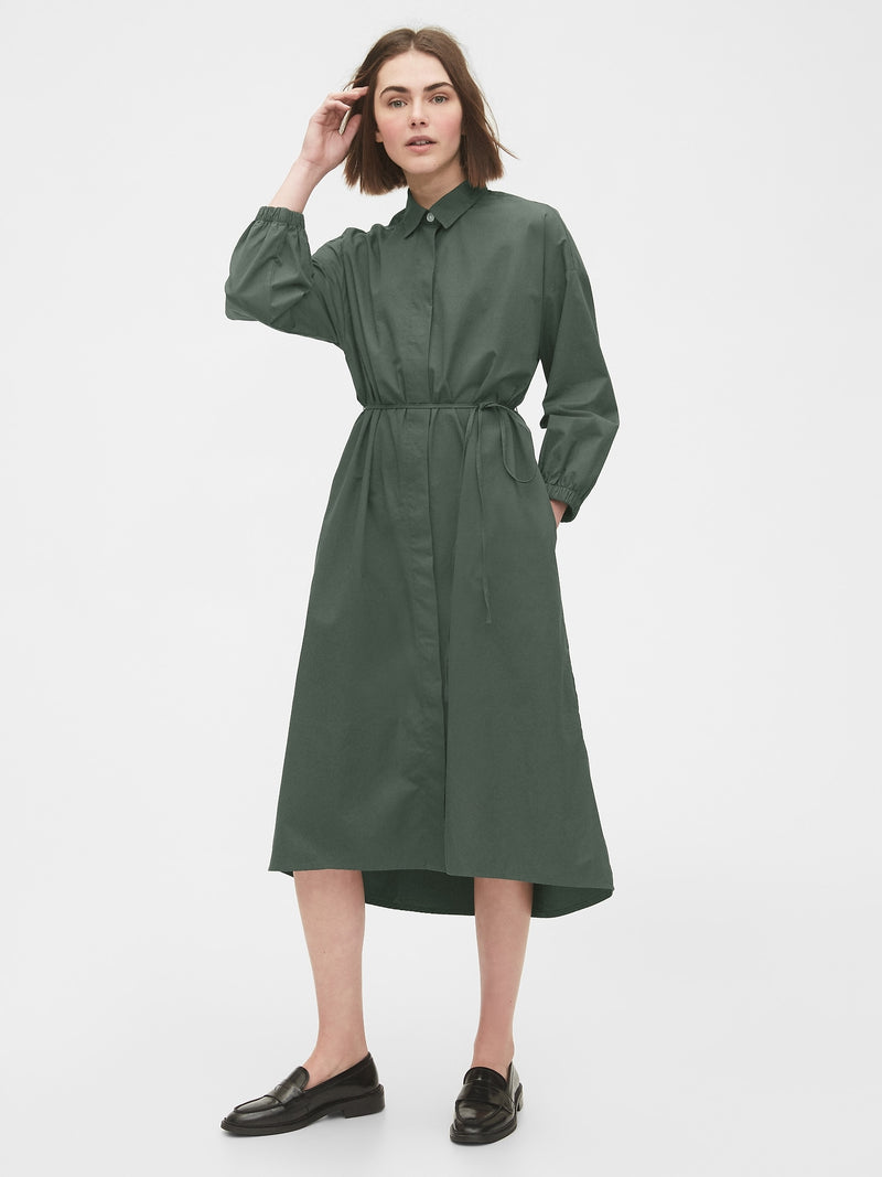 Gap Three-Quarter Sleeve Midi Shirtdress - Verde
