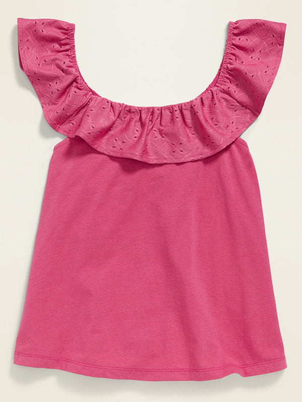 ON Camiseta Ruffled Eyelet-Lace Jersey-Knit Top for Girls - Rosalie
