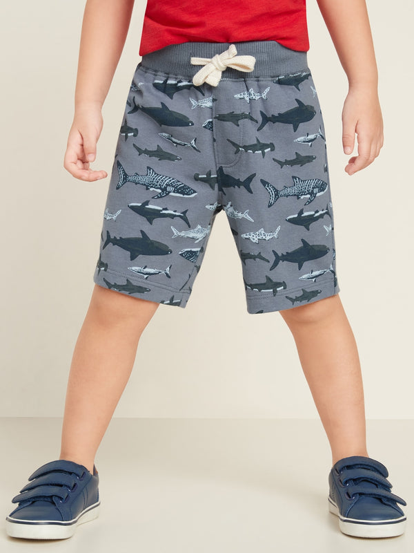 ON Jersey Functional-Drawstring Jogger Shorts for Toddler Boys - Sharks