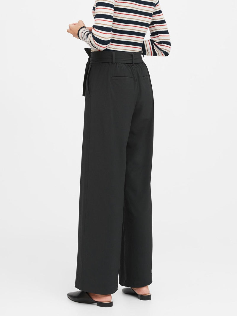 Pantalón-Performance Tie Waist Wide Leg-Black