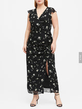 Vestido Ruffle Ruched Maxi-Black Floral