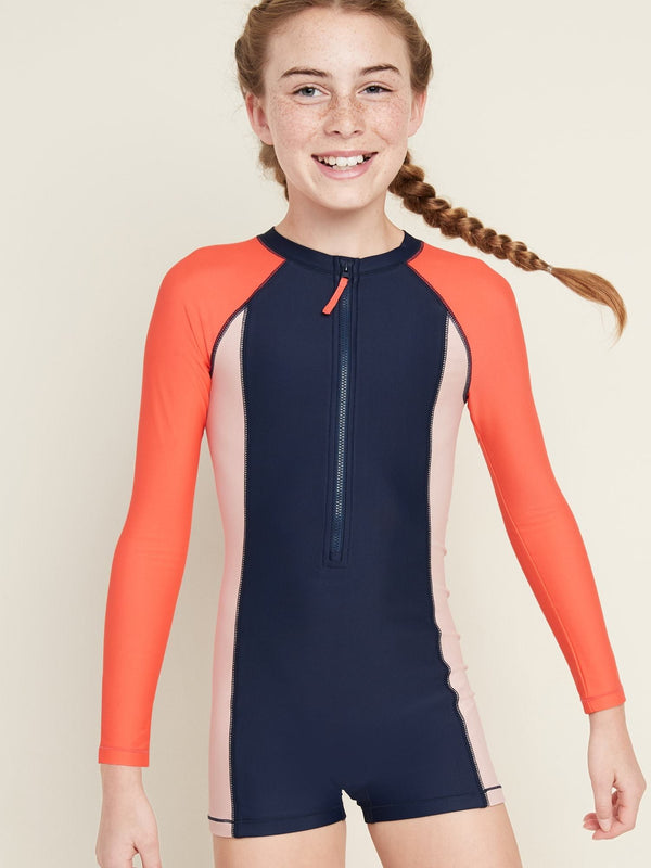 Traje de Baño Color-Blocked One-Piece Rashguard For Girls - Azul Colorblock