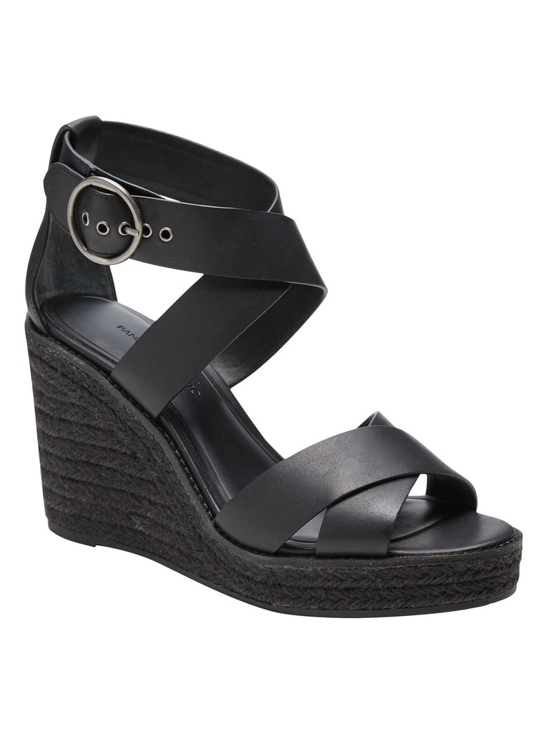 Zapato Open Toe-Buckle Espadrille Wedge-Black