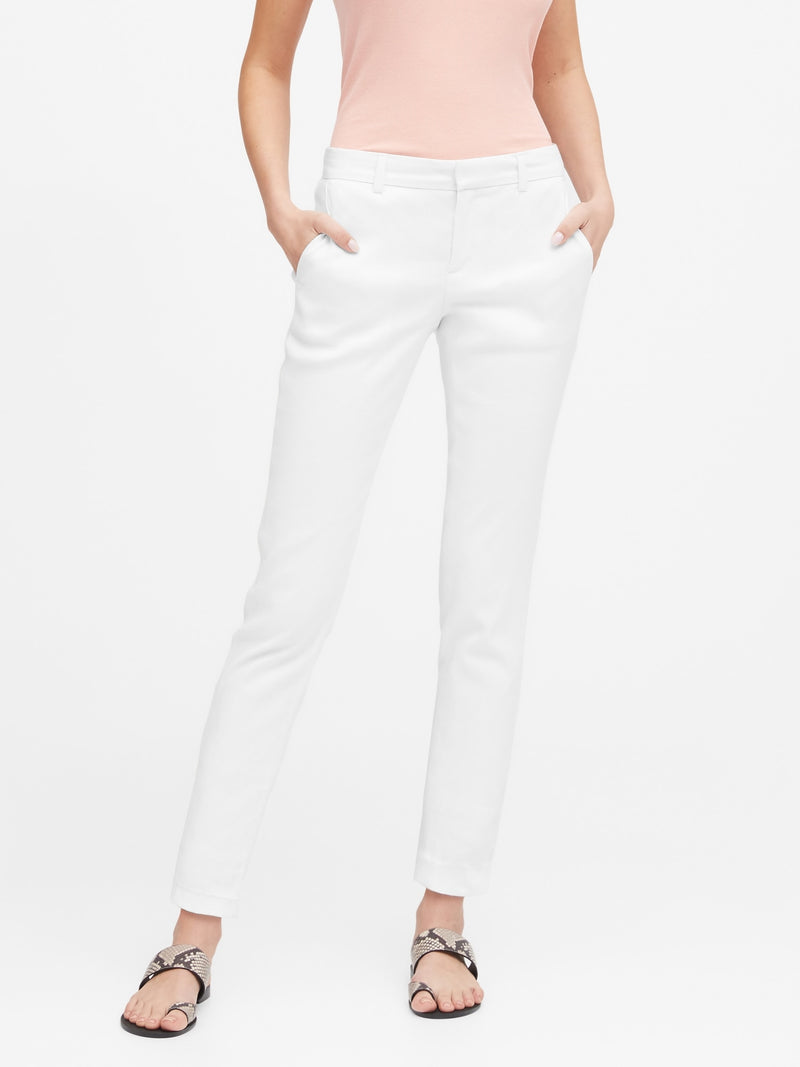 BR Avery Straight-Fit Linen-Cotton Pant - Vwhite