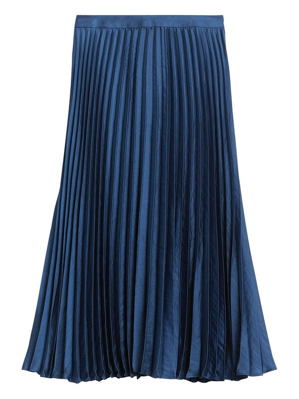 Enagua-Soft Satin Pleated Midi -Indigo Fog