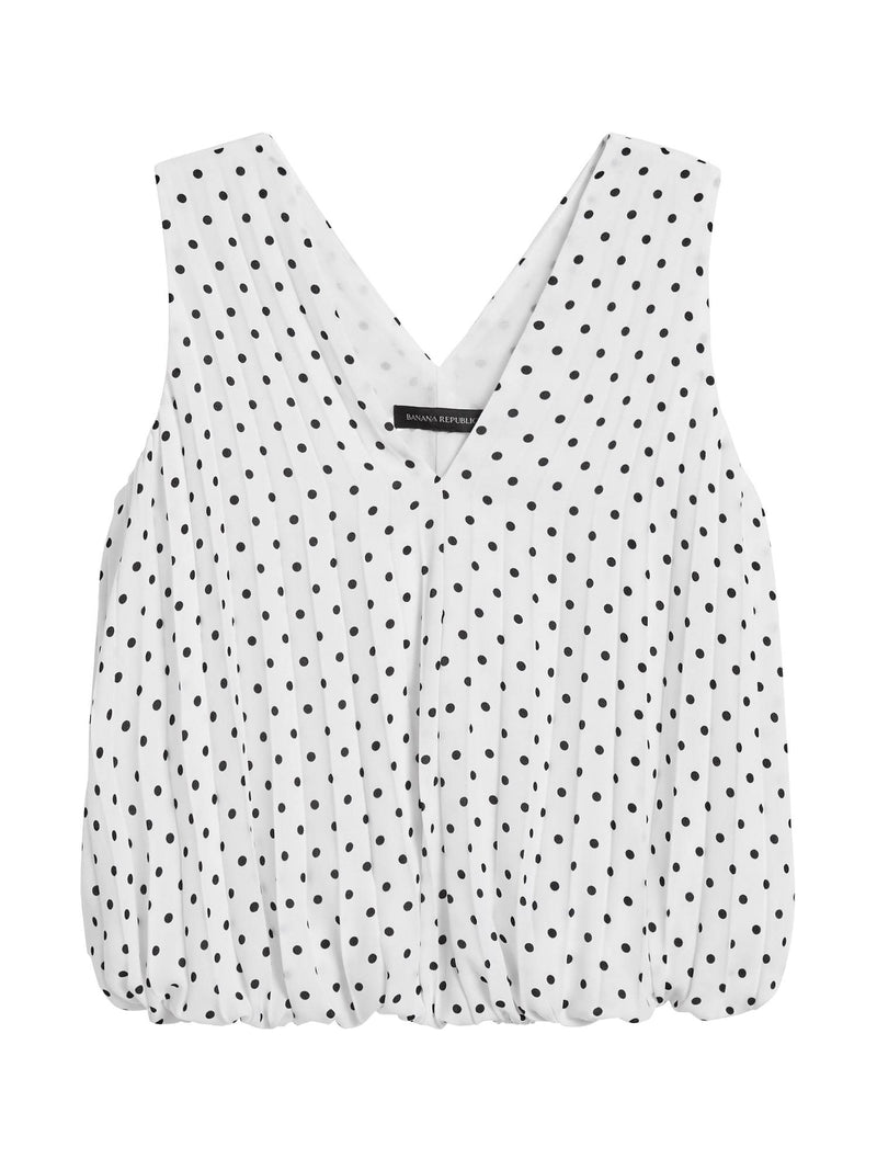 Camisa sin Manga Pleated Banded Top-White Dot