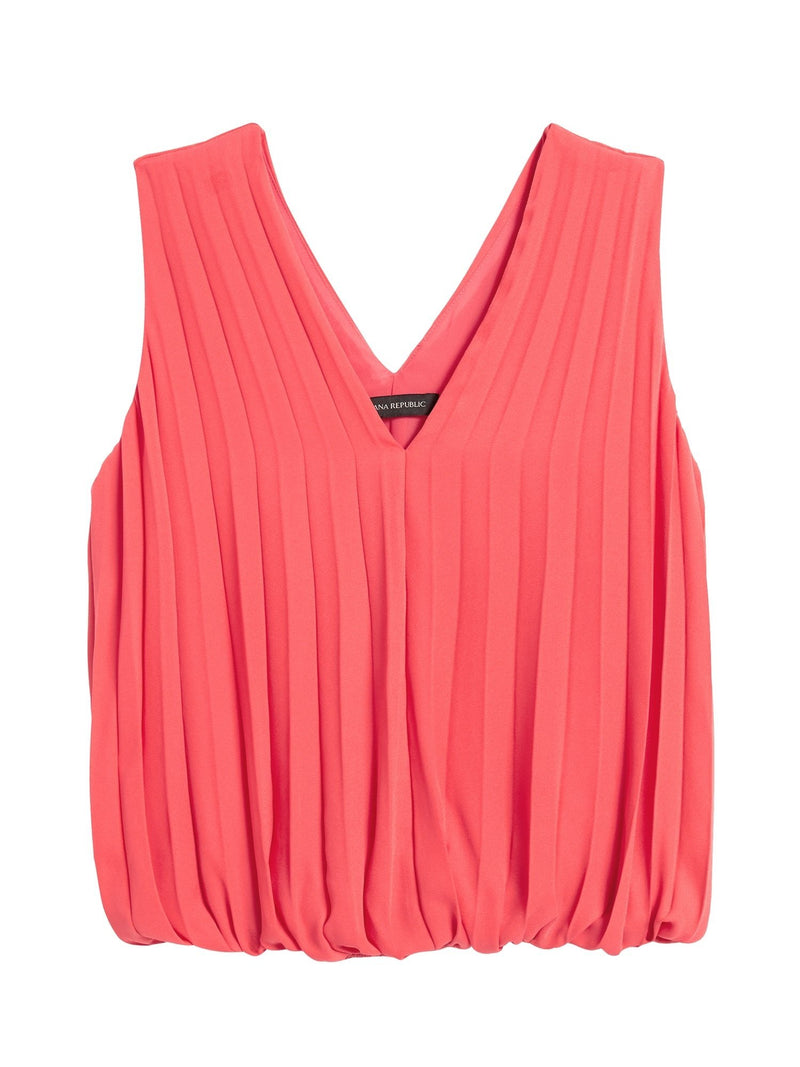 Camisa sin Manga Pleated Banded Top-Coral