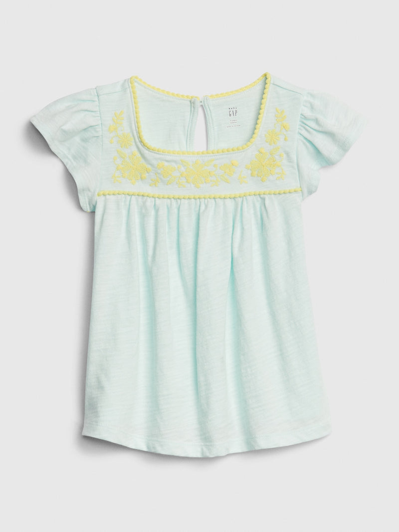 Gap Toddler Embroidered Eyelet Pin tuck Top - Glass Of Water