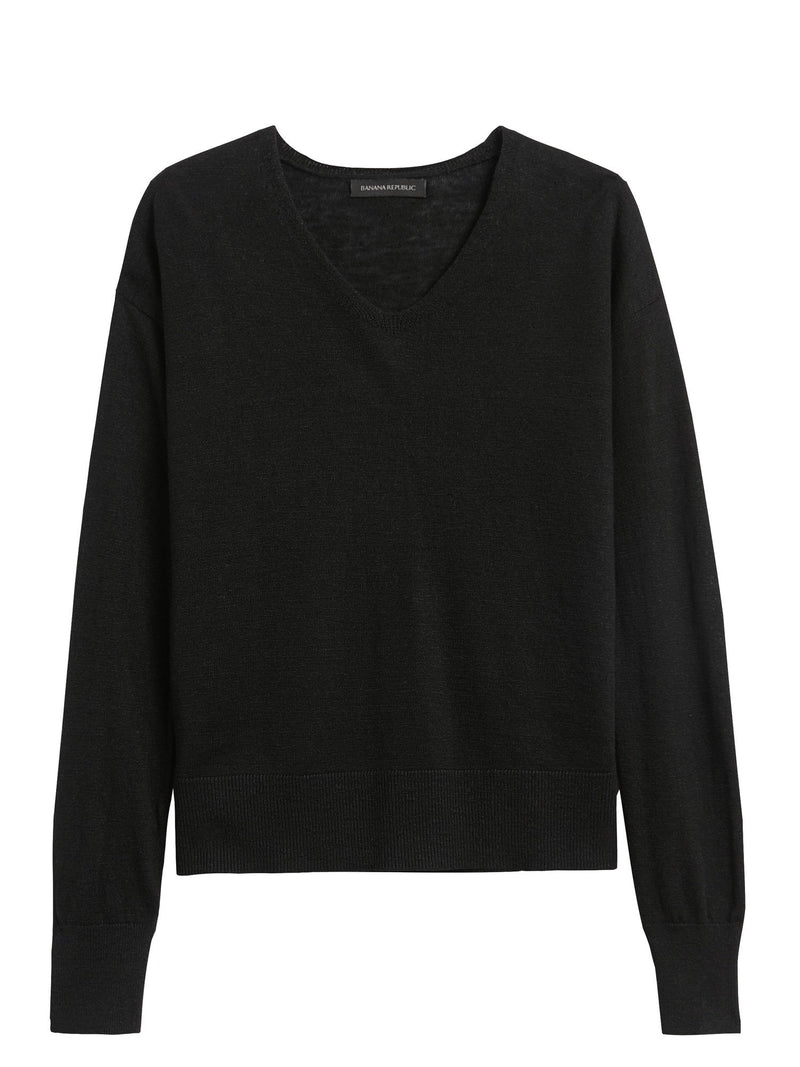 Sweater Non Iron Linen Blend Cast Off Vee - Solid-Black