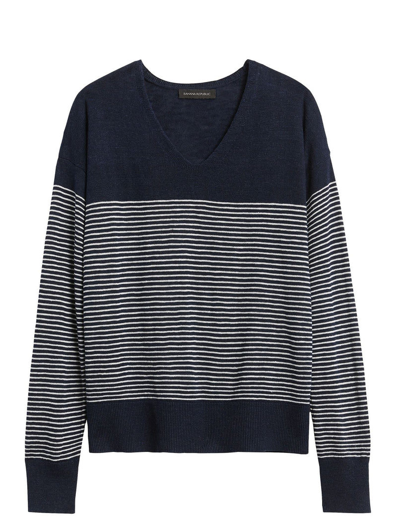 Sweater Non Iron Linen Blend Cast Off Vee - Stripe-Navy With White Stripe